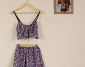 Rainbow Floral Print Twin Set Crop and Shorts 90s Sleepwear Cute Lolita 60s 70s 80s