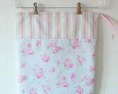 Large Drawstring Bag. Lingerie Bag. Shabby Chic Roses and Fresh Stripes. Floral Cotton Bag