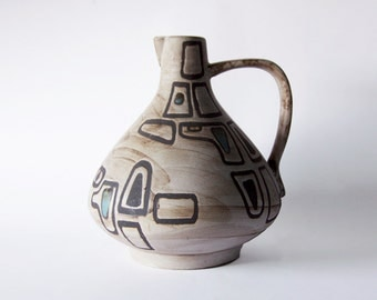 "Very Rare Mid Century XL Handled Vase by Ceramano ""Gallo"" Germany - 60s"