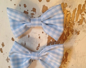 Set of two blue gingham bows