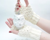 Cozy Fingerless Gloves, Crochet Lace Fingerless Mittens, Vanilla Wool, Arm Warmers, Women's Hand Warmers, Wrist Warmers
