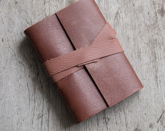 """3x4"""" Leather journal, white pages, travel journal, travel notebook, leather diary sketchbook, leather notebook, blank book, hand bound"""