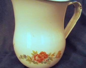 White Enameled Decorated Pitcher by Saltillo Cinsa From Mexico, About 5 1/2 Inches High and 5 Inches Across the Rim