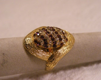 Vintage Adjustable Dome Ring, Root Beer and Clear Rhinestones, Adjustable Ring, Big Ring, Fashion Ring
