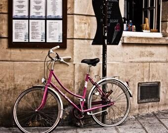 Bicycle Prints, Paris Prints, Paris Photography, Cafe Photos, Pink Bike Wall Art, Gifts for Her,  Fine Art Print Photography, Paris Print,