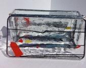 Confetti 3 orange red yellow black stained glass beveled box rings jewelry trinkets bridesmaid graduation gift box