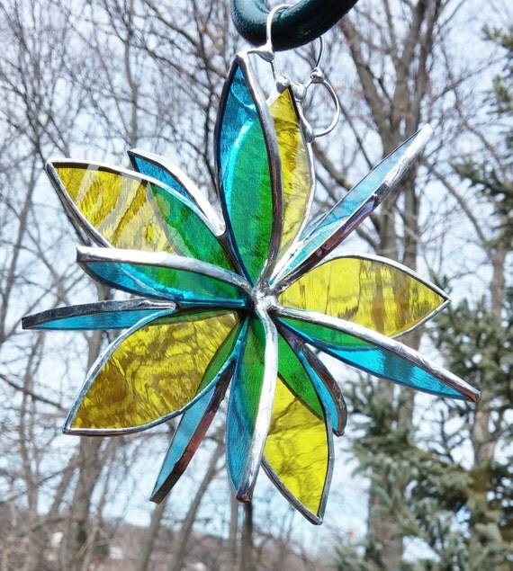Stained Glass 3D Flower Twirl Yellow Aqua Garden Art