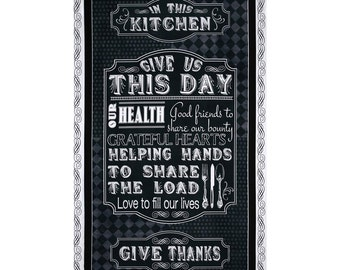 Give Us This Day Kitchen Prayer 24x44 cotton quilting fabric panel by Quilting Treasures - kitchen, quilting, wall hanging panels