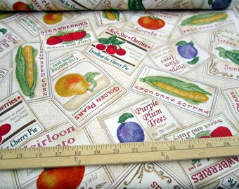 Saturday Evening Post Garden Variety Fruit & Vegetable Label Toss Cream cotton quilting fabric by Quilting Treasures - kitchen - LAST PIECE