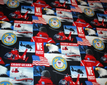 U.S. Coast Guard All Over Cotton quilting fabric From Sykel Enterprises Military & Public Service Cotton Collection