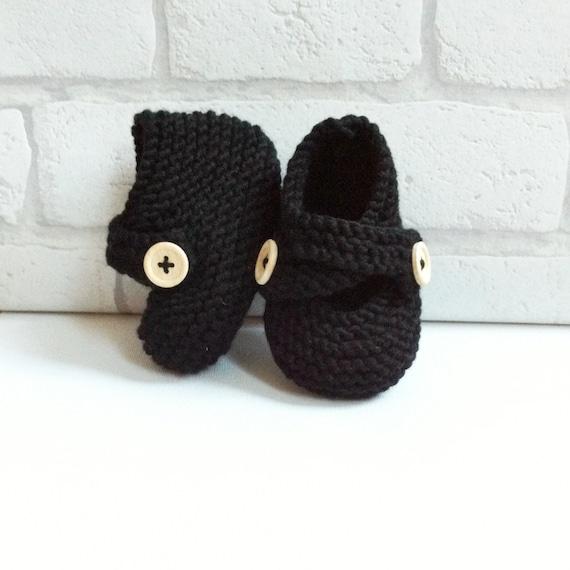 chunky hand knit merino baby booties : inky black, hand knitted, new baby gift, handprinted gift bag, baby keepsake gift