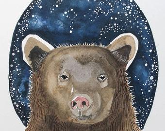 Kermode Spirit Bear Woodland Nursery  Watercolor Giclee Print, Archival Print