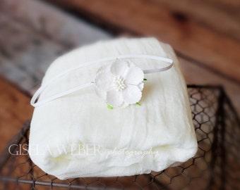 Newborn Wrap Set, Baby Wrap Set, Newborn Cheesecloth, Tiny Newborn Headband, Small Baby Headband, Newborn Photo Prop, Cheesecloth Wrap