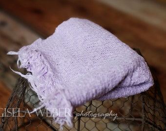 Knit Newborn Wrap, Lilac Baby Wrap, Lilac Newborn Layer, Lavender Basket Stuffer, Newborn Photo Props, Baby Girl Props, Lilac Backdrop Layer