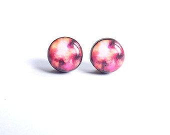 Romantic Purple Galaxy Stud Earrings Purple Space Earring Posts Galaxy Jewelry Romance Jewelry Valentines Day Jewelry For Her Gifts For Her