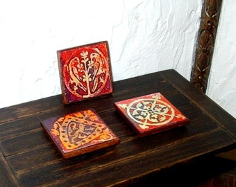 Rustic Medieval Trivets, Set of 3, Dollhouse Miniatures 1/12 Scale, Hand Made