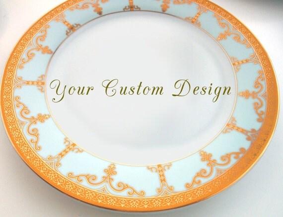 Customizable Plates Turquoise/Aqua /Gold Dinnerware Customizable Dishes Personalized Plates  sc 1 st  WTF Porcelain & Customizable Plates Turquoise/Aqua /Gold Dinnerware Plates