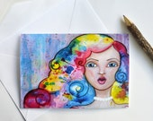 "Original Art Print Greetings Card ""Candyfloss Kisses"" A5 Size"
