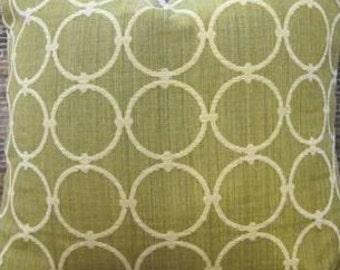 SALE Designer Pillow Cover - Sphere geometric Chenille Green -
