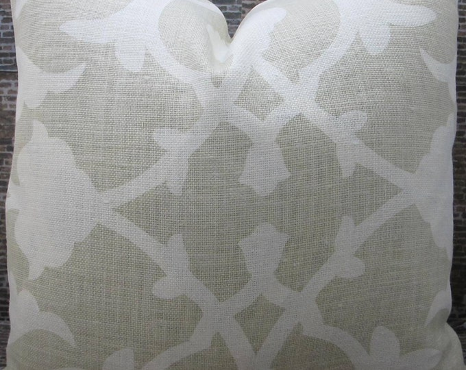 Designer Pillow Cover -  20 x 20, 22 x 22, 24 x 24 - Barbara Barry Poetical For Kravet Couture - Willow