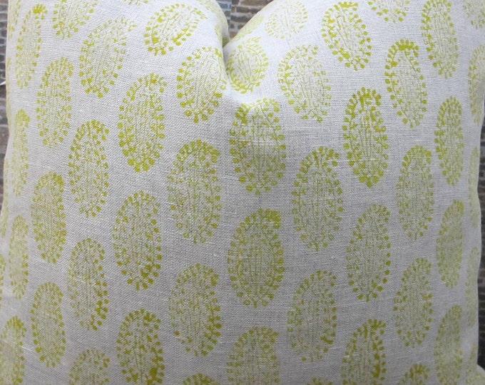 Designer Pillow Cover - Lumbar, 16 x16, 18 x 18, 20 x 20, 22 x 22 - Paisely Leaf Block Print Yellow