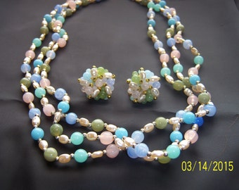 Vintage Pastel Spring Colors Beaded Necklace and Clip on Earring Demi-Parure