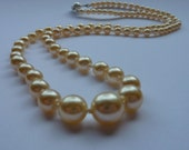 Re-strung Vintage graduated pearl necklace: restrung and hand knotted on 100% silk thread - Wedding, Bridal, Prom, something old