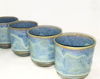 Blue with Brown and Tan Ceramic Tumblers, Water, Juice, Wine Glass, Tea Cup, Coffee Cup, Pottery