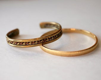 Two Bangle Bracelets - One From Spain - Pretty Gold Colored Braided Bracelet - Brushed Metal Monet Bracelet