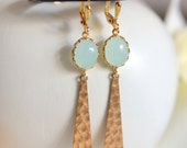 Mint and Gold Triangle Dangle Earrings. Jewerly. Gift. Cloudy Mint and Hammered Triangle Drop Earrings. Christmas Sale. Holiday Earrings.
