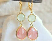 Grapefruit Pink Teardrop and Mint Drop Earrings in Gold.  Mint and Coral Bridesmaid Dangle Earrings. Jewelry Gift. Wedding. Bridal.