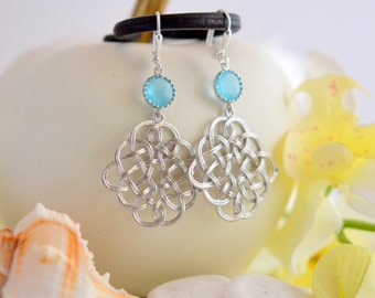Celtic Pendant Statement Earrings with Sky Blue Jewels.  Dangle Earrings.  Blue Earings. Gift. Holiday Jewelry. Christmas Gift.