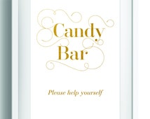 Printable candy bar sign ~ Gold candy bar sign ~ Candy station sign ~ Gold wedding table sign ~  Downloadable candy buffet sign ~ Gold foil