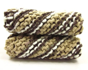 Coffee Brown Knitted Dishcloths for Kitchen Cleaning Grandma's Favorite Dish Cloth Set of Two Cotton Wash Cloths
