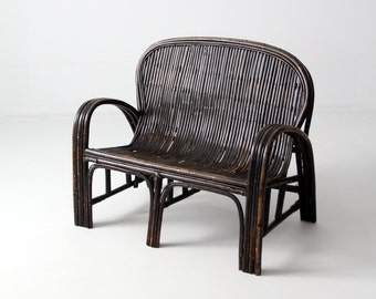 FREE SHIP  antique Chinese bench, low rattan love seat