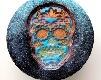 SUGAR SKULL SOAP, Sugar Skulls Soap, Colored in Blue, Hot Pink, Yellow, or Orange, Hand Painted, Novelty Soap, Halloween Soap, Handmade