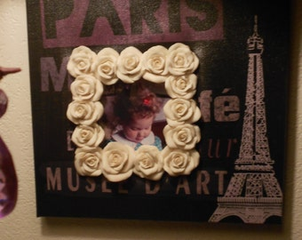Boho OOAK of Paris painting on canvas with insert rose bud frame