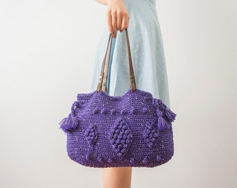 Handbag Tote Purple Bag Crochet Bag Handbag Summer Bag Leather Bag Leather Tote Bag Camera Bag Travel Bag Leather Tote
