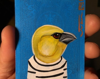 Pall portrait on a playing cards. Original acrylic painting. 2013