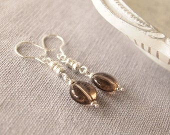 Smoky Quartz Earrings, Sterling Silver Gemstone Earrings, Silver Dropper Earrings, Smokey Quartz Earrings,