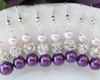 Bridesmaid Earrings, Bridesmaid Jewelry, Purple Bridesmaid Jewelry, Lilac, Lavender, Pearl and Rhinestone Earrings, Bridal Party Jewellery