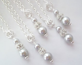 Set of 7 Pearl and Rhinestone Necklaces Seven Bridesmaid Necklaces Bridesmaids Jewelry 7 Necklaces Pearl Necklaces Set of 7 Bridesmaids Gifs