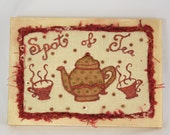 Spot of Tea embroidered canvas wall art home decor wall quote kitchen art time for tea polka dot teapot tea cups canvas whimsy red