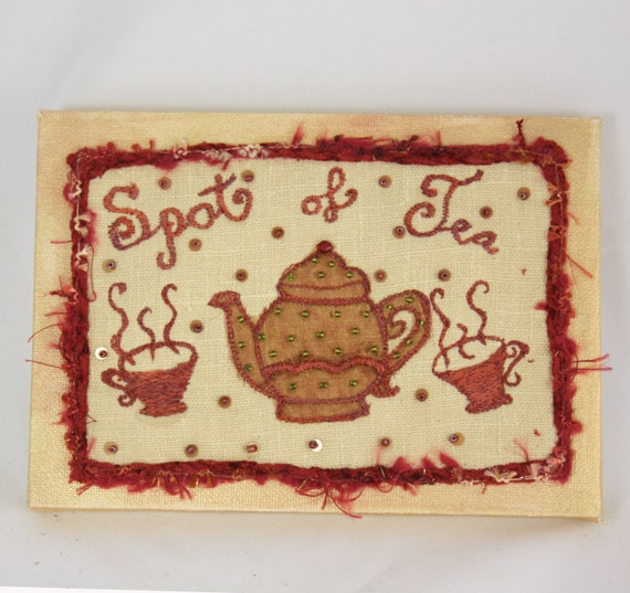 Spot Of Tea Embroidered Canvas Wall Art Home Decor Wall Quote