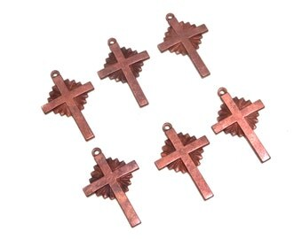 Copper Cross Crucifix Charms Stampings with Loop 31mm 6 pieces