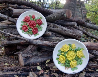 Lovely Chalkware Wall Hangings//High Relief Red and Yellow Rose Clusters on Round White Plates//Circa 1940//Valentine's Day Gift