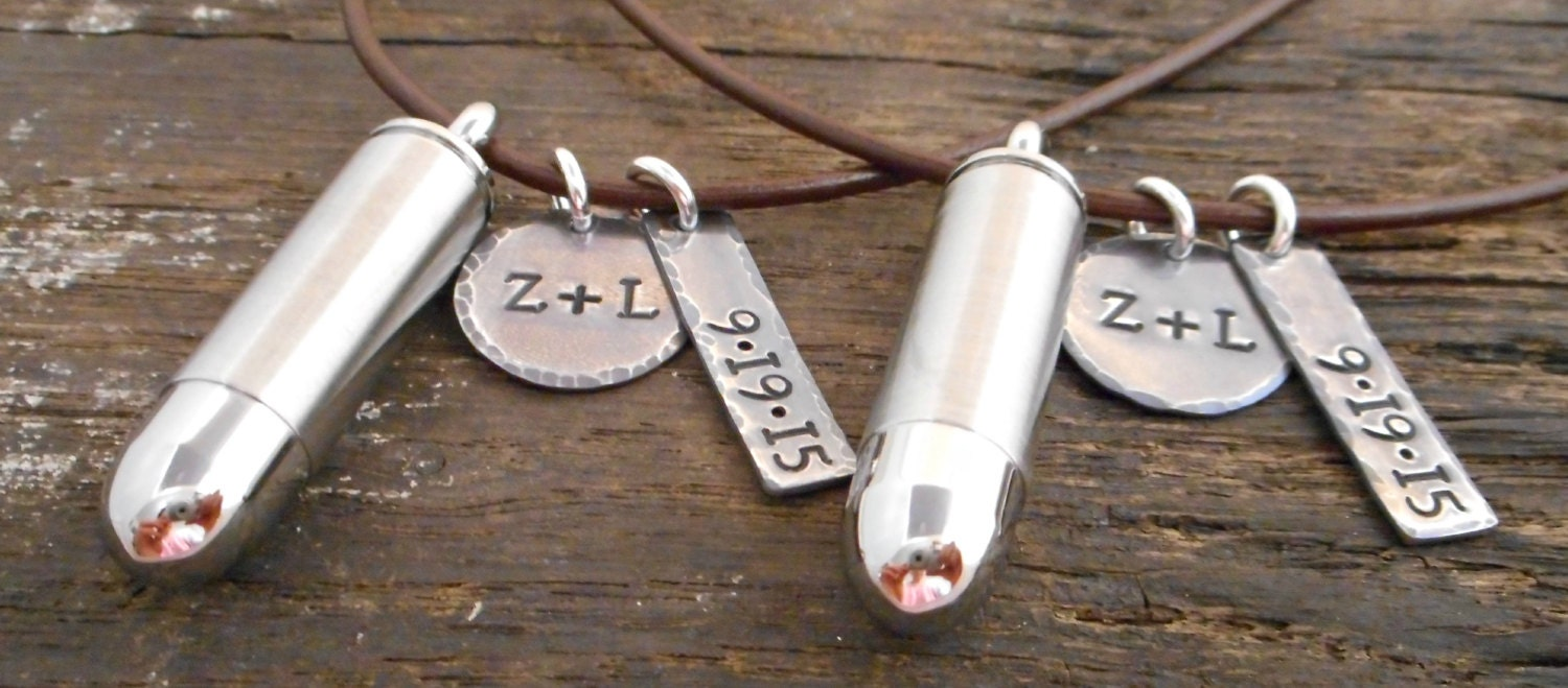 his and hers personalized bullet necklace by