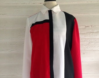 Vintage Red, Black and White 90s Blouse