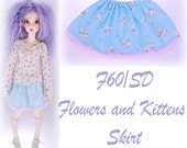 F60 SD Flowers and Kittens Skirt