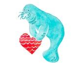 Manatee Art - Heart Print - Love Print - Manatee Nursery - Beach Art Print - Sea Cow Art - Romance Prints - Coastal Wall Art - Animal Spirit